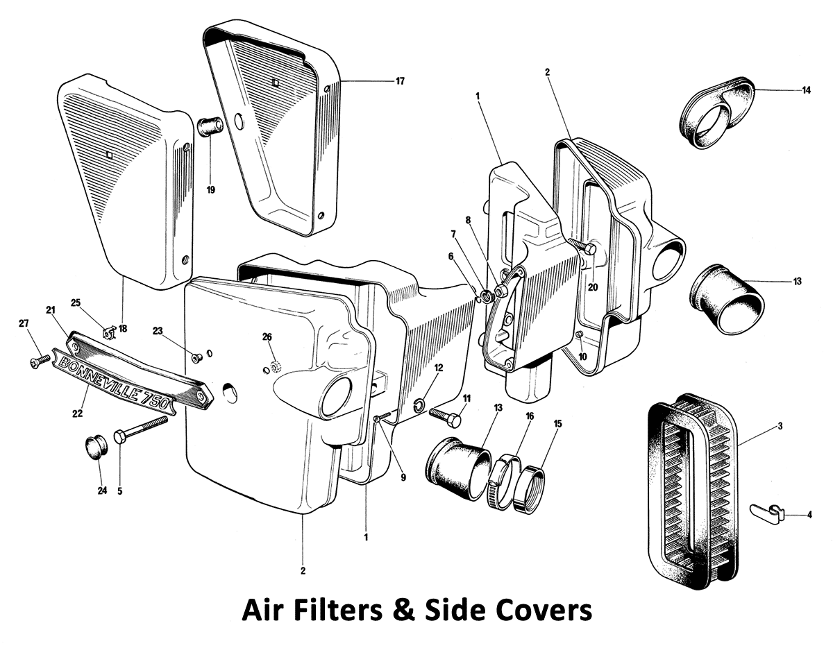 1973 Triumph 750 Twins Air Filter & Side Covers